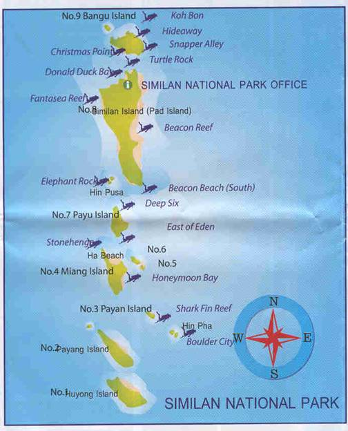 Map of Similan Islands Access from Khao Lak Khao Lak Lovers