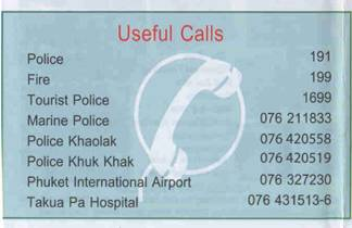 Important Phone Numbers in Khao Lak