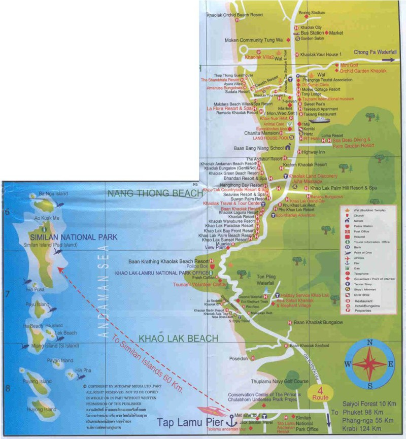 Khao Lak Map Khuk Khak to Tap Lamu Khao Lak Lovers