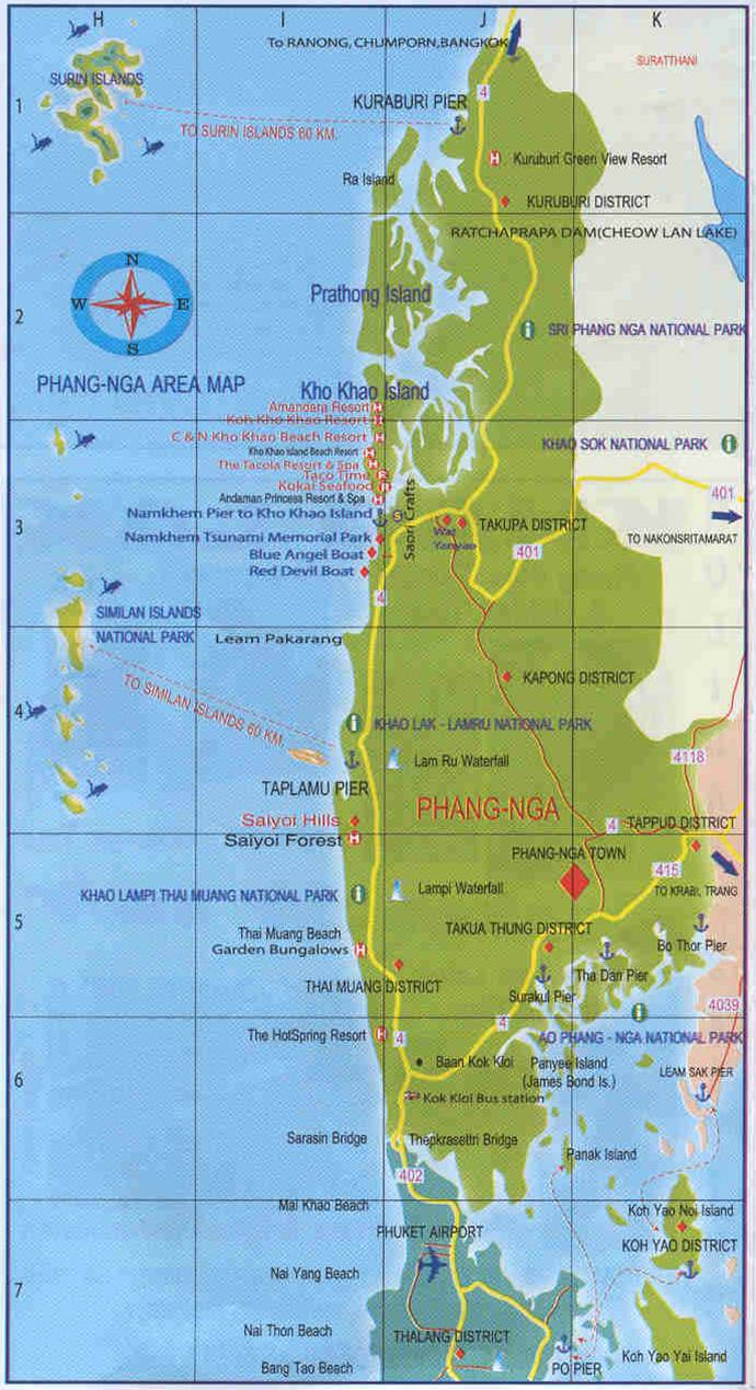 Map of Phang Nga Province in Thailand - Excellent details of ... Map From on